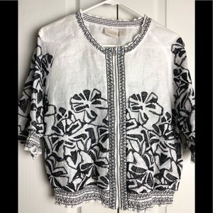 Chico's Linen Embroidered Top Jacket 1 M